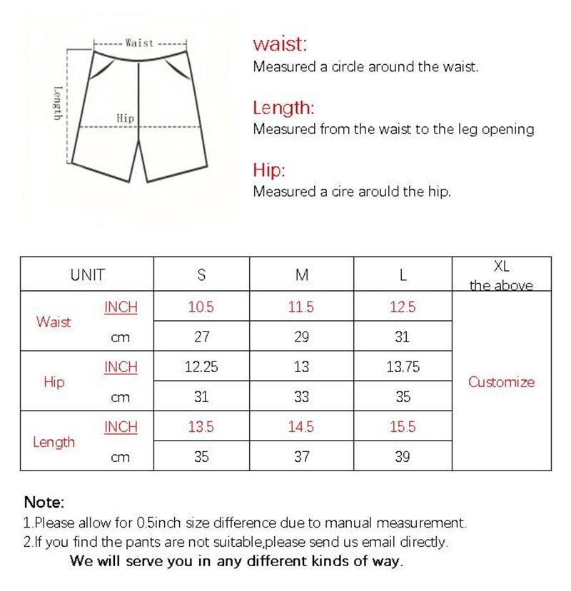 F012 SHORTS SIZE CHART