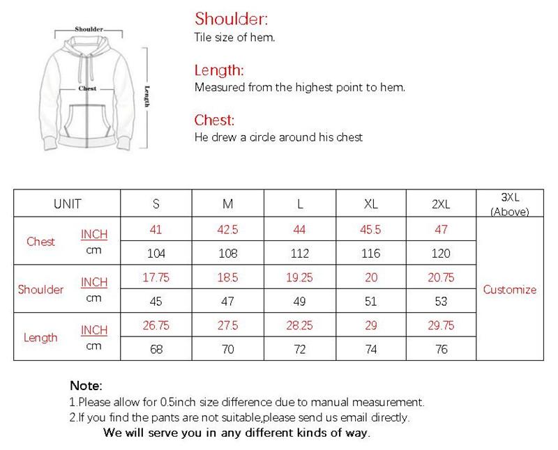 M005 SIZE CHART